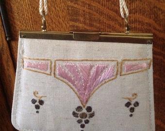 Vintage purse, Easter purse, embroidered, linen, small, evening, purse, lipstick, wedding,brass frame, childs