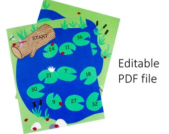Preschool Printable Educational Game. Frog Game Board with Customizable Fields (Sight Words)