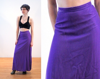 60s Purple Velvet Skirt XS, Violet Rayon Vintage Maxi Lilac Lux Hippie Boho Holiday Party 1960s Elegant Long Skirt, Extra Small