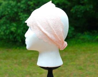 Country peach headband, pretty peach lace headband