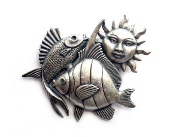 Signed Susan L Richardson Sun Fish Pin, Tropical Fish Sun Pin Brooch, Beach Pin, Silvertone Pin, Layered Fish Sun Pin, Statement Brooch