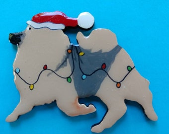 Keeshond Christmas Pin, Magnet or Ornament-Free Shipping-Hand Painted- Free Personalization Available