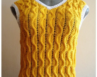 Woven yellow blouse with braids design