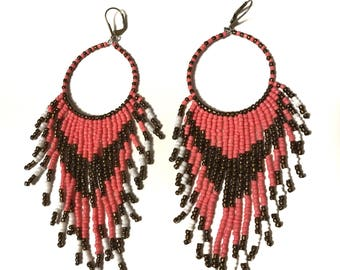 Pink and Bronze Fringe Earrings