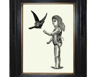 Steampunk Doll Art Print Mechanical Girl with Bird Raven Crow Robot - Victorian Art Print Android Surrealism