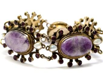 Antique Austro-Hungarian 750 silver hallmarked amethyst paste pearl bracelet