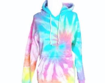 Pastel Tie Dye Hoodie - Pastel Sweatshirt - Hooded Sweatshirt - Rainbow Shirt - Pastel Tiedye