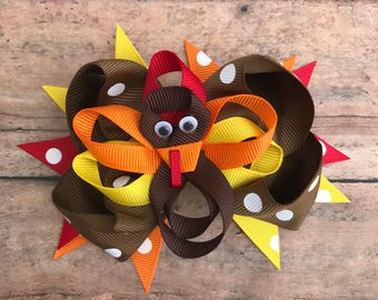 Thanksgiving Bow - Thanksgiving Hairbow - Thanksgiving Baby - Turkey Bow - Turkey Hair bow - Turkey Hairbow - Turkey Hair Clip - Turkey