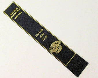 ELEANOR ROOSEVELT BOOKMARK, Leather Bookmark, First Lady of the World