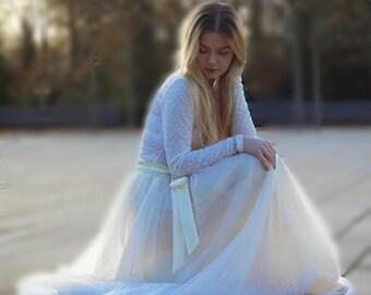Ecru tulle skirt Handmade maxi skirt Ivory ballerina skirt Maxi tulle skirt Adult tulle skirt  Wedding tulle skirt Premium Quality Tulle