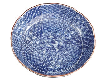 Blue and White Asian Bowl with Gold Trim