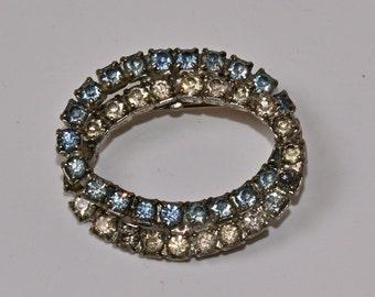 Blue Rhinestone Brooch Vintage Oval Pin Old Jewelry