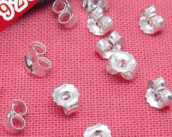 20PCS 925 Sterling Silver Ear Nuts Earring Back Stoppers Wholesale earring caps for earring stud diy jewelry making supply