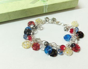 Faceted Crystal and Pearl floral charm bracelet beads