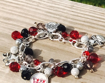 College or local school sport themed toggle beaded bracelet