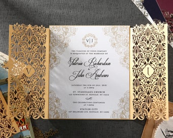 Extravagant Moroccan-Inspired Invitation with Gold Plated Embellishment, Without Foil  - IWP16022-DG
