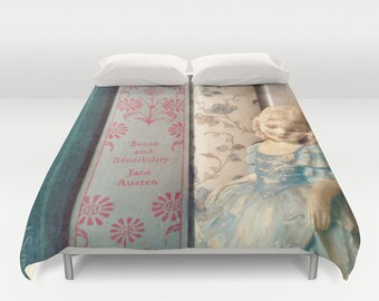 Sense and Sensibility Comforter or Duvet Cover: Home decor, bedroom, bedding, Jane Austen, blue, library, librarian, girl's room, books