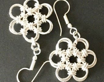 Drop and Dangle Japanese Flower Chain Maille Earrings