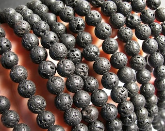 Black Lava - 8mm round - 1 full strand - 47 beads - A Quality - Lava  volcanic gem - Wholesale deal - RFG353