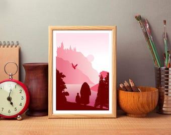 Harry Potter Inspired Art Print, The Philosophers Stone, Sorcerers Stone, Hogwarts Castle Art Print, Woodland Scenery, Harry And Hagrid