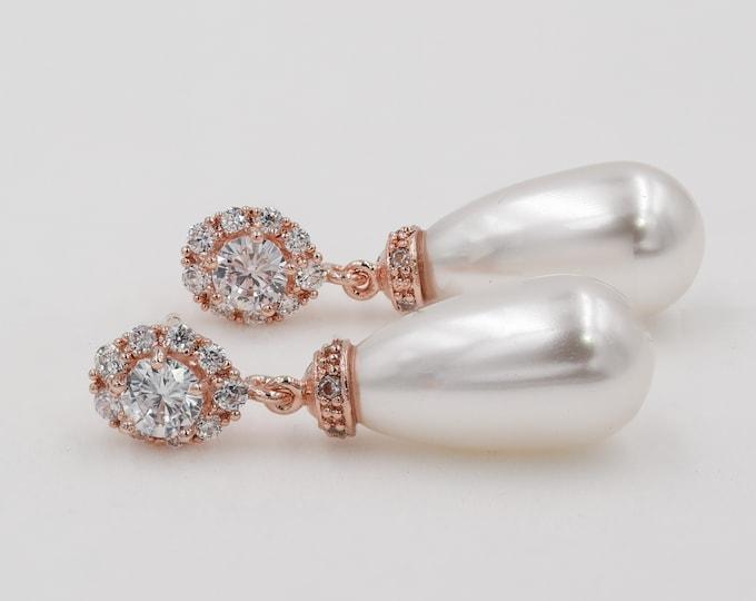 Brides earrings, Rose gold Crystal earrings, swarovski pearl drop, wedding jewelry, custom made, brides, mother  bride, Prom earrings