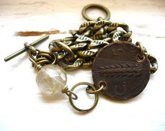 Bijoux, Bracelet à breloques pièce Quartz rutile, bijoux de pierre gemme Birthstone pièce, Bracelet artisanaux de pièce
