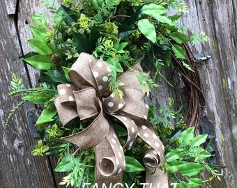 Greenery front door year round wreath,everyday wreath,farmhouse green wreath,burlap bow grapevine wreath,everyday grapevine wreath