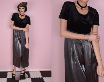 90s Black and Silver Wide Leg Jumpsuit/ US 8/ 1990s