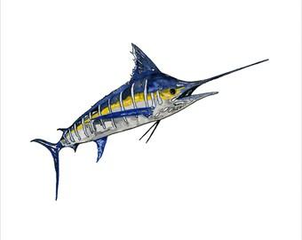 marlin painting, marlin watercolor, marlin original art, animal art, fish art, sea animals wall art, marlin wall art, striped marlin