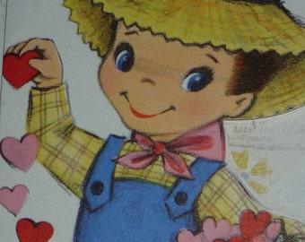 Cute Farm Boy Feeding Bucket of Hearts To Little Chicks Vintage 1950s Valentine Greeting Card