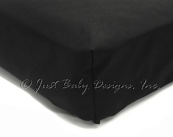 Fitted Crib Sheet - Black Solid Cotton