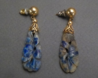 Blue Sodalite Earrings 14 K Gold fittings