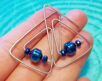 Metalikus Geometric Blue Hematite Stainless Steel Earrings