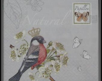 Crown napkin Bird on flowering branch and butterflies