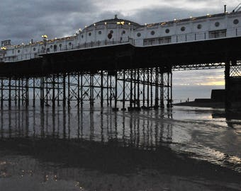 Brighton Pier at dusk, Tide's Out, 2017, English seaside, photo print, Photography, Picturesque print, England,