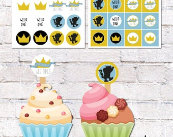 """Cupcake Topper """"Where the Wild Things Are"""" Theme Birthday. Party Circles. Printable / DIY.  *DIGITAL DOWNLOAD*"""