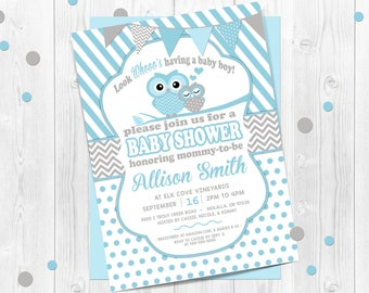 Owl baby shower invitation etsy boys owl baby shower invitation blue owl invitation chevron baby shower invitation baby owl owl blue polka dots owl baby shower filmwisefo