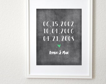 Chalkboard Personalized Dates 8x10 Art Print with Heart. Family Art. Family Gift. Personalized Family Wall Decor. Family Home Decor.