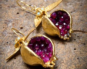 Handmade Jewelry Authentic Earrings Pomegranate Design