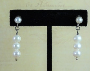 White Fresh Water Pearls and Sterling Silver Post Earrings