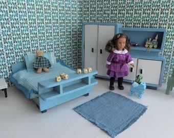"Aqua Blue ART DECO bedroom for Mini AG Dolls, or any 6""-7.5"" doll like Amanda Jane, Alexanderkins, Garden Gals, Lottie orMatilda"