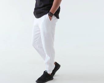 White mens linen pants. Mens trousers. Pants for men. Mans white pants. Gift for him. Summer linen pants. White linen pants. Summer clothes