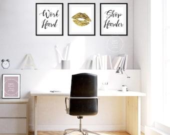 girly office decor. Set Of 3 Printables | Work Hard - Shop Harder Gold Foil Kiss 8x10 Girly Office Decor O