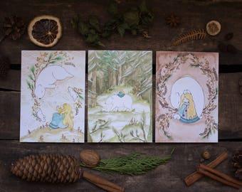 Lot de 3 cartes postales - La Fille aux Ours - illustration aquarelle