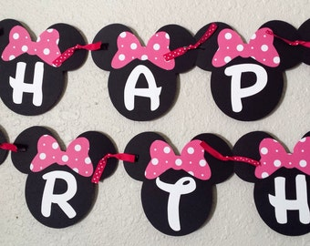 Minnie Mouse Birthday Banner, Minnie Mouse Party, Minnie Mouse Birthday, Minnie Mouse Banner, Minnie Mouse, Minnie Mouse Ears, Bowtique