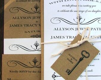 Wedding Invitations Skeleton Key, Modern Vintage Wedding, best selling items