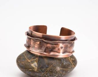 Ruffled Antiqued Copper Cuff Bracelet, Hammer Textured Exotic Cuff Bracelet, Handmade Layered Copper Cuff Tribal Bracelet, Womens Jewelry