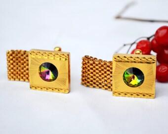 Gold cufflinks, Wedding Cufflinks, grooms gift, rhinestone cufflinks, mens accessories, Vintage Cufflinks, square Cufflinks