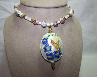 BUTTERFLY KISSES-Lovely Cloisonne Butterfly with Flowers Pendant 21 1/2 inch Necklace