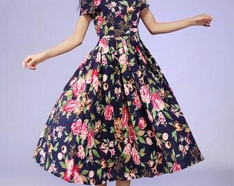Floral dress, linen dress, natural linen dress, linen summer dress, print dress, madi linen dress, linen women dress, custom dress (560)